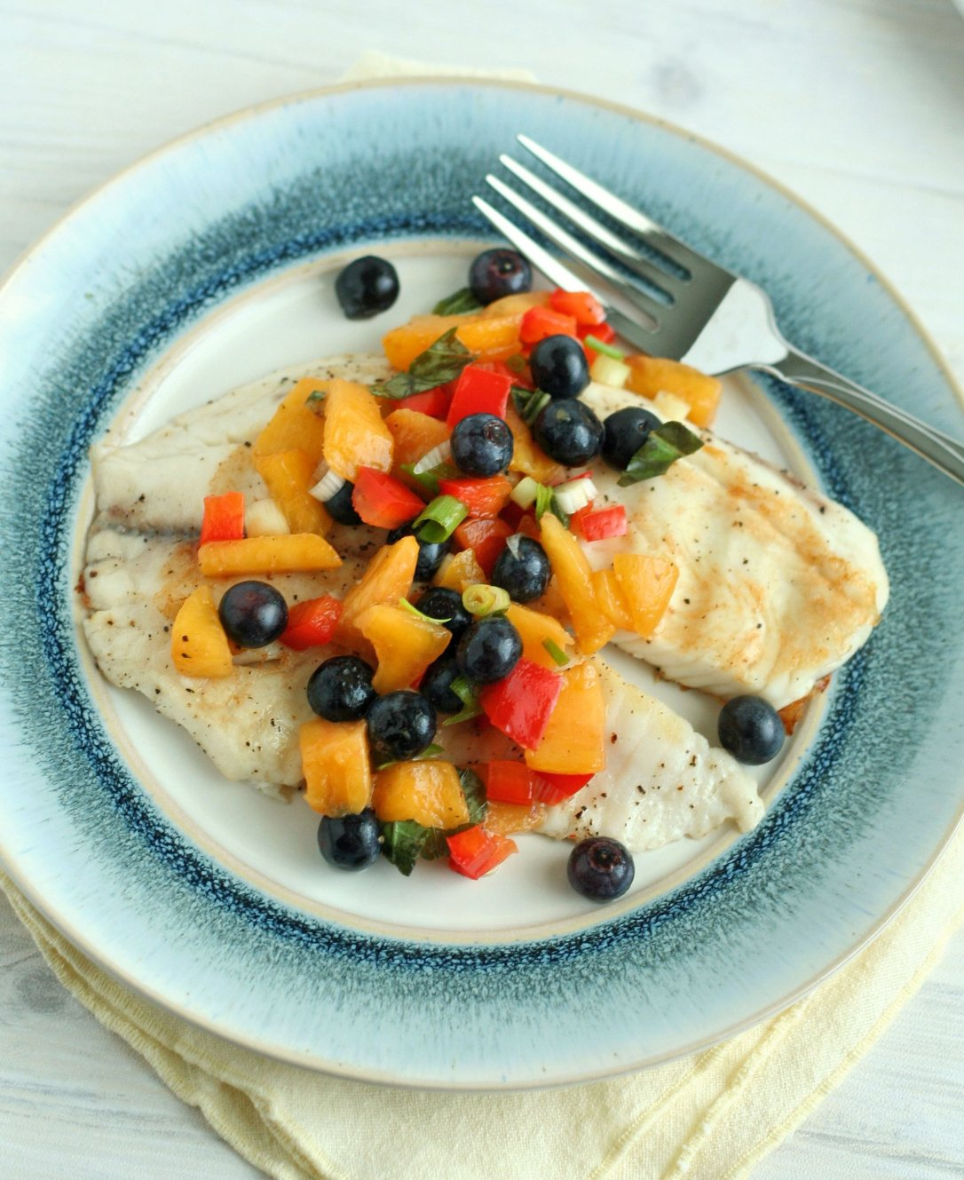 Grilled Tilapia with Bluberry Peach Salsa 2