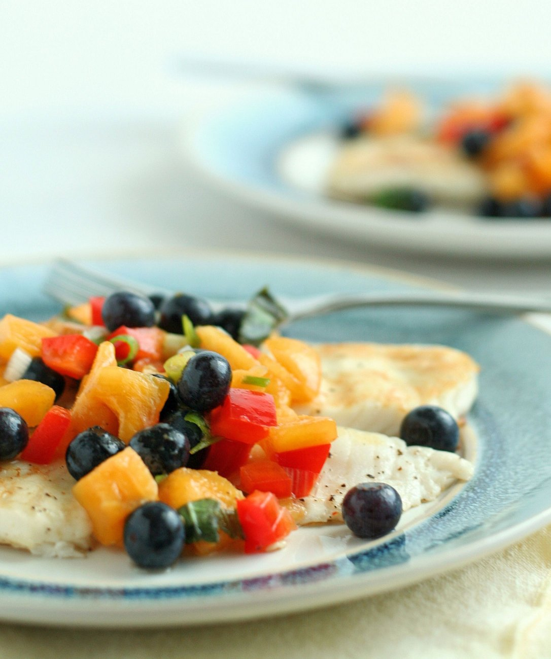 Grilled Tilapia with Bluberry Peach Salsa