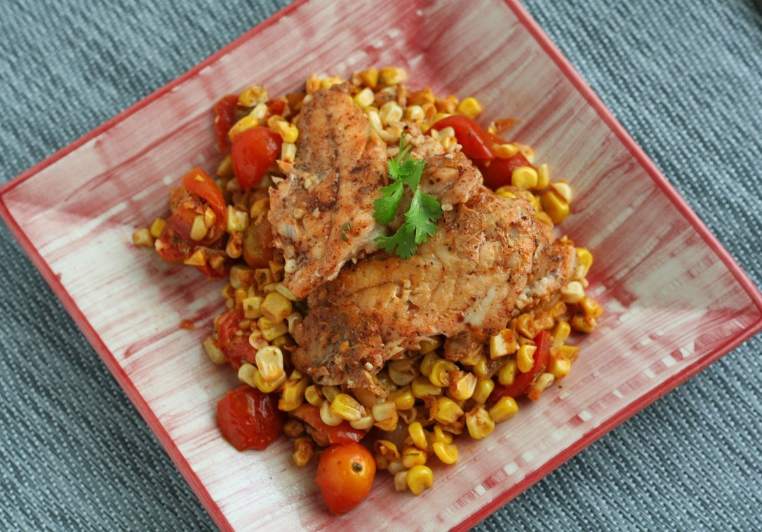 Mexican Corn and Tomato Skillet with Fish 2