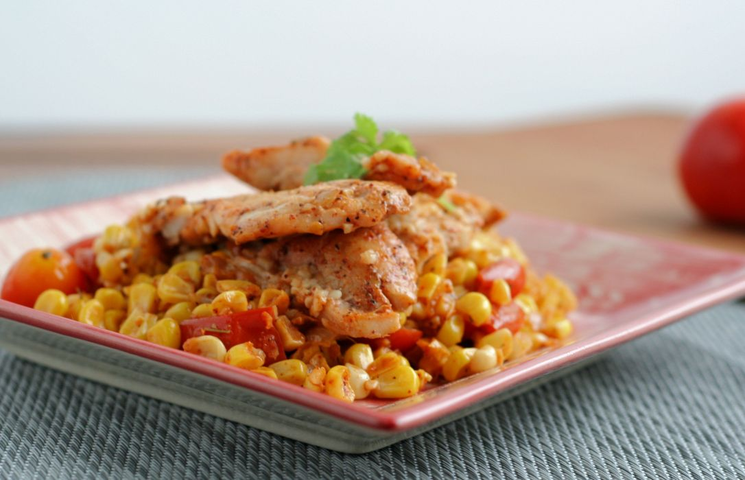 Mexican Corn and Tomato Skillet with Fish 3