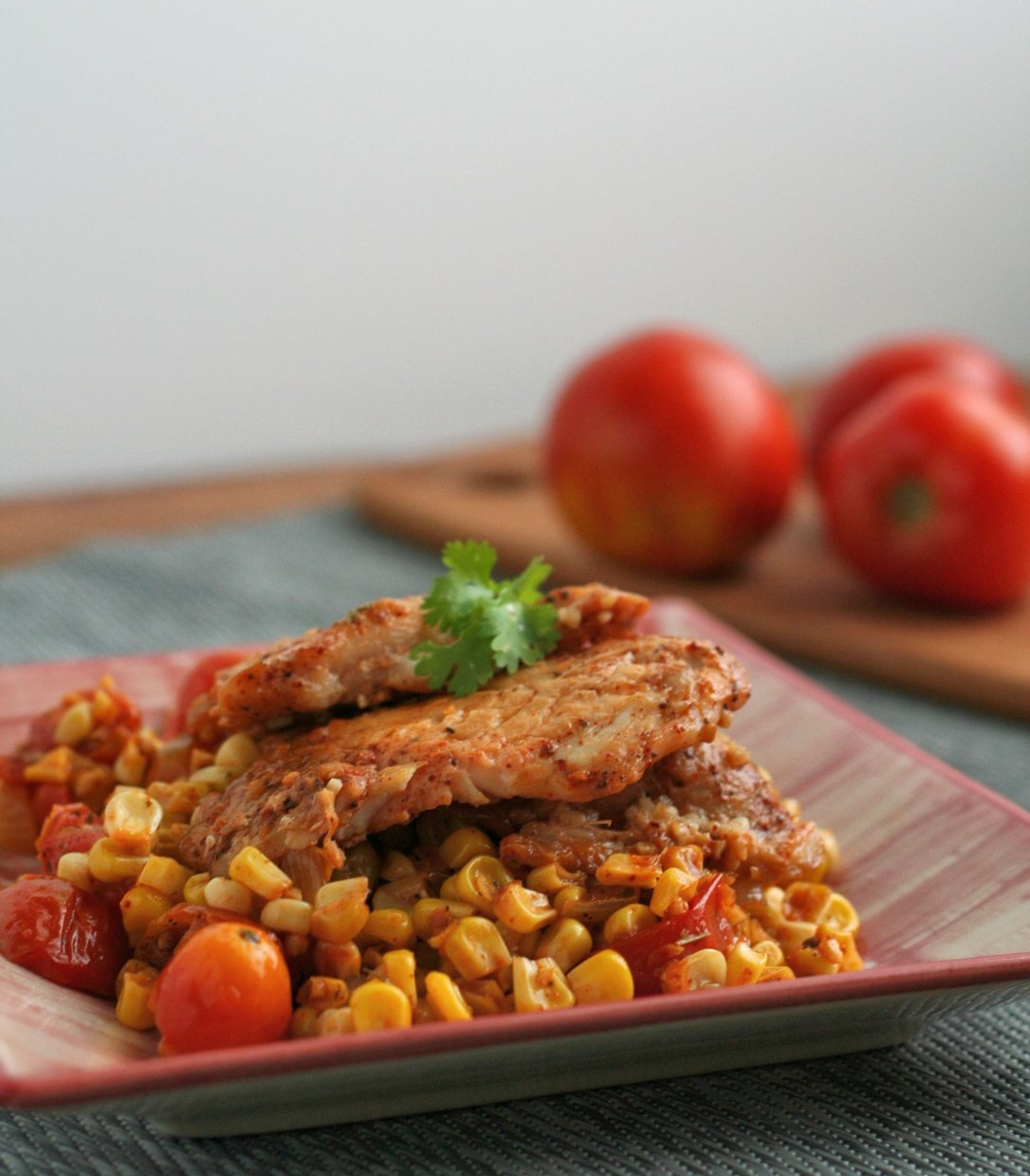 Mexican Corn and Tomato Skillet with Fish