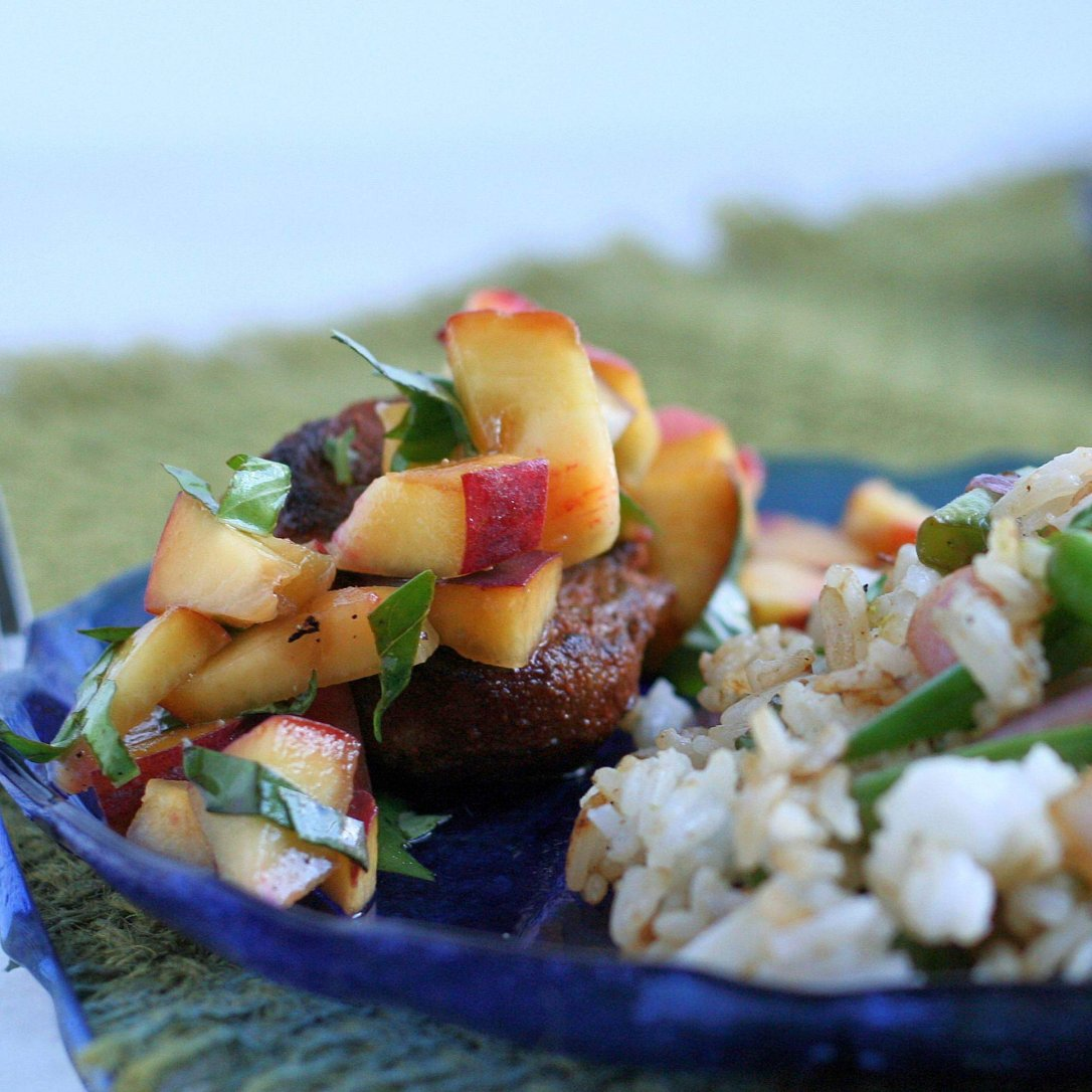 Spice-Rubbed Pork Medallions with Peach Salsa & Cilantro-Green Bean Rice 2