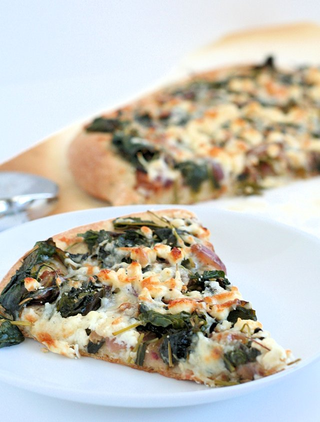 Kale, Spinach, Swiss Chard Pizza