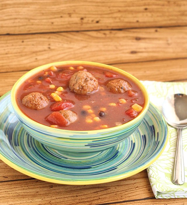 Slow Cooker Mexican Meatball Soup 4