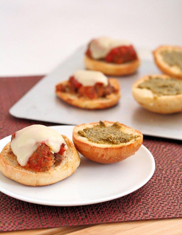 Mini Meatball Sliders with Pesto
